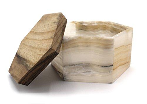 Hermosa caja de joyería hexagonal de Ámbar Onyx Aragonita, con tapa de madera, 7,6 cm de alto, 13,5 cm de ancho (2lb), tallada de auténtico ámbar norteamericano ónice – La serie Artesana Mined de HBAR
