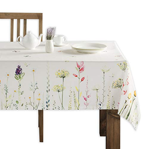 Maison d' Hermine Botanical Fresh 100% CottonTablecloth for Kitchen | Dining | Tabletop | Decoration | Parties | Weddings | Spring/Summer (Rectangle, 54 Inch by 72 Inch)