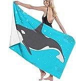 BAOYUAN0 Toalla de Playa XXL Dibujos Animados Orca océano Ballena asesina Toalla de baño de Secado rápido Toalla de Piscina Grande 80 * 130 cm Accesorios para Acampar Manta de Picnic
