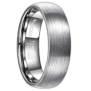 NUNCAD Ring Herren Damen 7 mm pursilbrig aus Wolfram, Unisex Ring mit polierter Oberschicht für Hochzeit, Verlobung und Partner, Größe 62