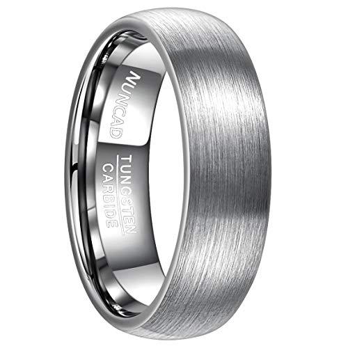 NUNCAD Damen Herren Ring 7mm Silber Wolfram mit polierter Oberschicht für Hochzeit, Fashion, Alltag und Geburtstag, Größe 66