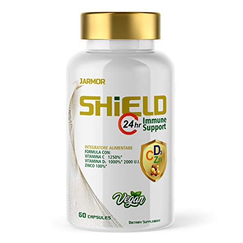 J.ARMOR Shield High Dosage Supplement, Vitamin C 1000mg - Vitamin D 2000UI - Zinc 60 Capsules Vegan