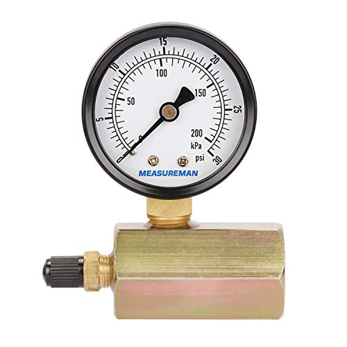 "Measureman 2"" Steel Gas Pressure Test Gauge Assembly, 3/4"" FNPT Connection, 0-30 psi/kpa, 3-2-3% Accuracy"