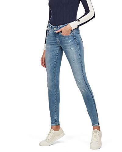 G-STAR RAW Damen Lynn D-mid Waist Super Skinny Jeans, Blau (lt aged destroy 9136-1243), 27W/L30
