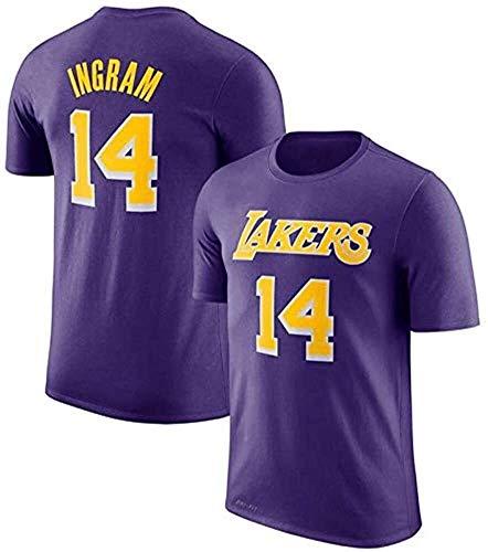 DHFDHD Jersey de Baloncesto NBA Camiseta de Los Angeles Lakers Baloncesto de la Letra T Moda Media Manga # 2 / # 8 / # 14 Camiseta de Baloncesto (Color : White, Size : XL)