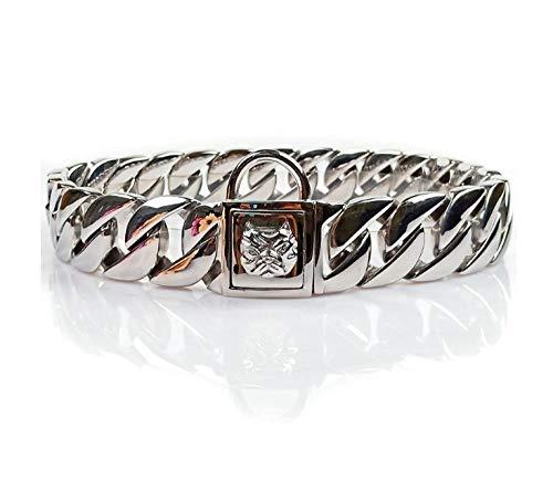 Cuello de Mascotas de Perro de Metal Liso Cadena de Acero Inoxidable Diamante de Lujo Hebilla de Diamante 32mm Pitbull Bulldog Collar de Cuello francés -Hebilla de Perro 32mm_6XL 32mmx80cm