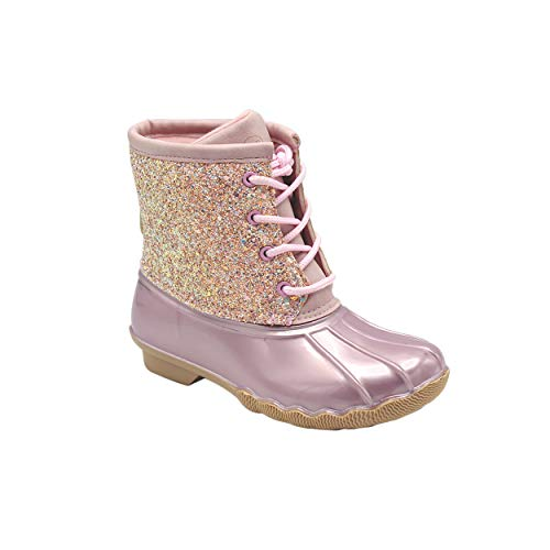 Jessica Carlyle Gavin-04K Duck Girls Lace Up Two Tone Combat Style Rain Duck Boots Pink 2