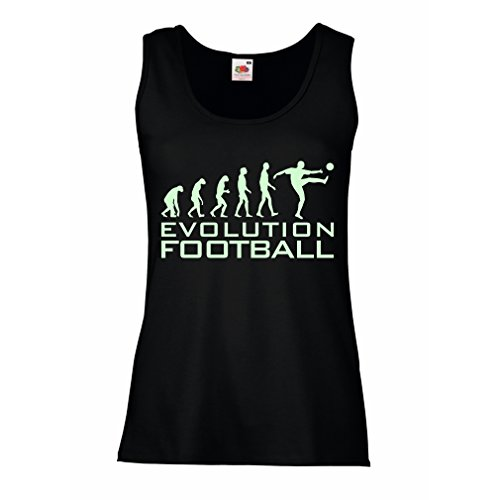 lepni.me Camisetas sin Mangas para Mujer La evolución del fútbol - Camiseta de fanático del Equipo de fútbol de la Copa Mundial (Large Negro Fluorescente)