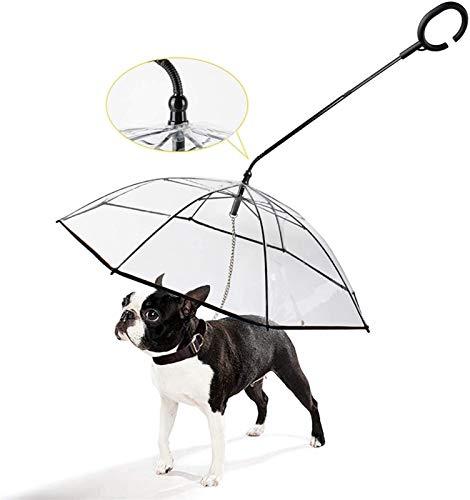 Hailiang Cachorro Plegable Perro para Perros Montaje Impermeable con Cadena Correa Que Camina Lluvia Lluvia Transparente Paraguas Poncho Perro Paraguas Transparente Impermeable