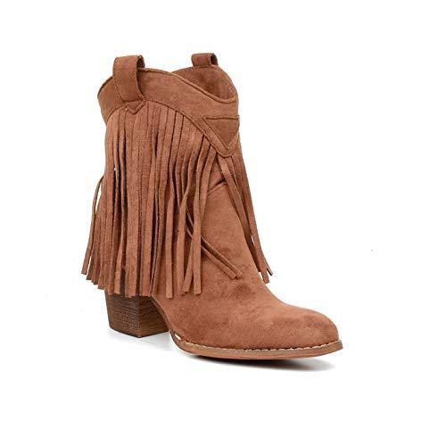 HERIXO Damen Schuhe Stiefeletten Cowboy-Boots Western Fransen Indianer Wildlederimitat Kunstleder(40 EU,Brown)