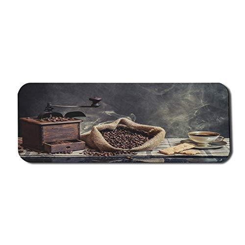Kaffee Computer Mauspad, Vintage Kaffeemühle Maschine Cookie Tasse Getränk rauchigen Hintergrund Bild, Rechteck rutschfeste Gummi Mousepad große Holzkohle grau braun