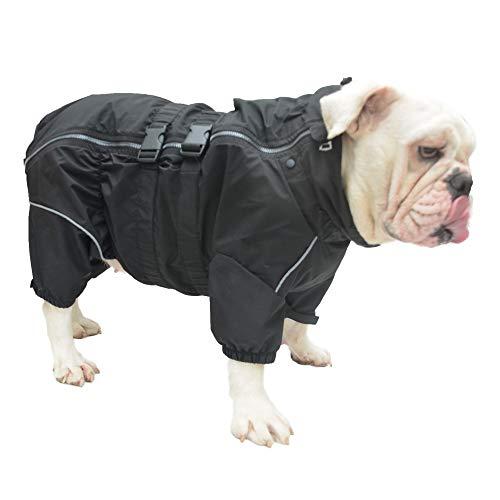 Lovelonglong Dogs Waterproof Jacket, Lightweight Waterproof Jacket Reflective Safety Dog Raincoat Windproof Snow-Proof Dog Vest for Pugs English French Bulldog American Pit Bull Black B-S