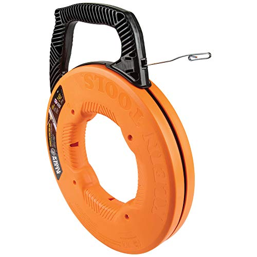 Klein Tools 56341 Fish Tape / Wire Puller, Stainless Steel with Double Loop Tip, Optimized Housing and Handle, 1/8-Inch x 240-Foot, Orange/Black
