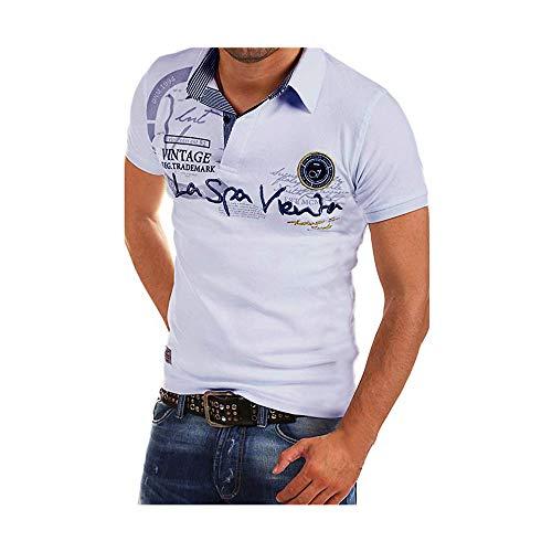Celucke Polohemd Besticken Poloshirt Herren Mit Coole Print, Männer Polo Hemd Shirt Kurzarm Basic T-Shirt Freizeit Polohemden Kurzarmhemd Herrenhemden Sweatshirt Kurzarmshirt (Weiß,XXL)