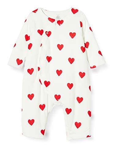 Petit Bateau 5810501 Overall mit roten Herzen für Babys, Mädchen an der Seite Gr. 80, Marshmallow/Terkuit