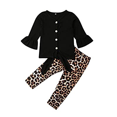 Casual Toddler Girl Clothes Long Sleeves Shirt Top Trousers Pants Set Toddler Girl Leopard Outfit Fall Winter Clothing (Black, 4-5T) by