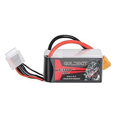 GOLDBAT 1300mAh 6S 100C 22.2V Lipo Battery with XT60 Plug for FPV Racing Drone Rc Car Rc Boat by Goldbat