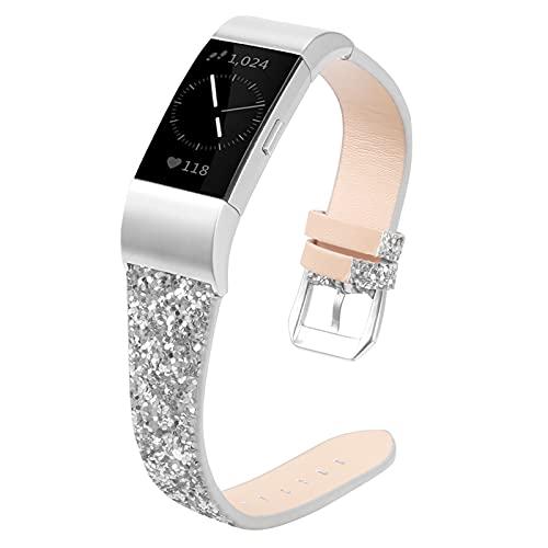 RuiRdot Uhrenarmbänder Für Charge 3, Echtes Lederband Schlankes Armband Ersatzband Zubehör Damen Herren für Charge 3/Charge 4 (R1)