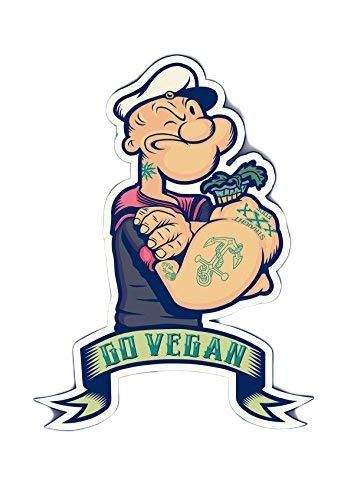 Two (2) 4inches   Best Seller Popeye Go Vegan Cartoon   Hard Hat Stickers - USA Union