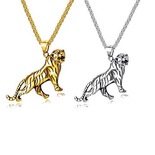 Heren Hanger Ketting Overheersend Tiger Titanium Staal Hanger Ketting, Punk Hip Hop Sieraden, Unieke Gift Voor Hem