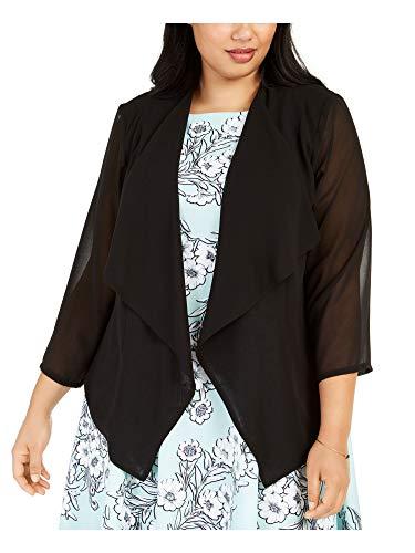 Calvin Klein Women's Plus Size Chiffon Fly Front Shrug, Black Solid, 3X