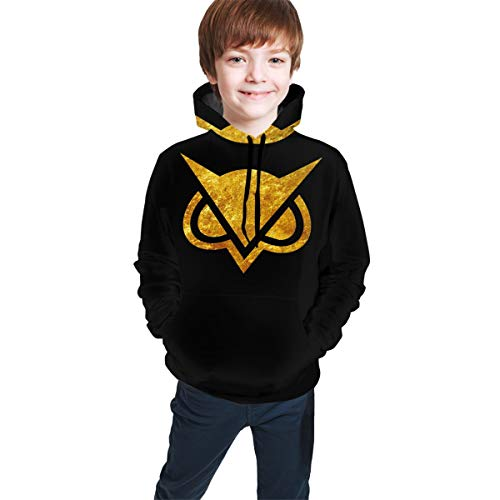 PHJTJB6D05 Unisex Kids Hoodies Sweaters OSS_XGam Pullover Clothes with Pocket for Teens L(14-16) Black