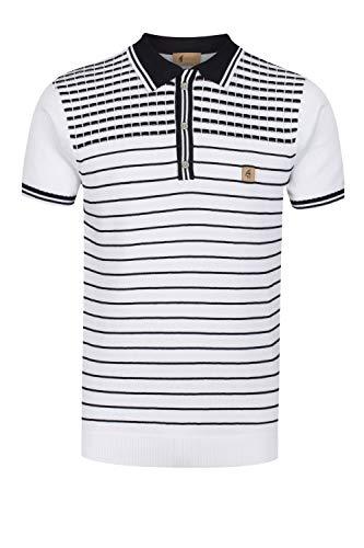 Gabicci Canyon Pattern Yoke Polo Shirt | White Large