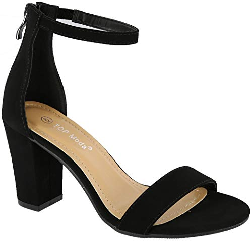 Fashion Women's Ankle Strap High Heel Sandal Shoes (6.5, Black)