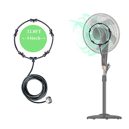 Fan Misting Kit for DIY Cool Patio Breeze with 32.8FT(10M) Misting Line & 5 Removable Brass Nozzles Galvanized Solid Brass Adapter Suitable,Connects to Any Outdoor Fan Misters for Cooling Outdoor