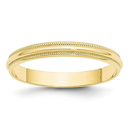 10k Yellow Gold 3mm Milgrain Half Round Wedding Ring Band Size 8 Classic Fine Jewelry For Women Gifts For Her