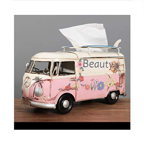 LYUN Caja de panuelos de Papel Caja De Panuelos Tejido Industrial De La Vendimia Modelo De Autobús De La Marea Creativa Facial Soporte para Las Mesas Caja de panuelos Decoracion (Color : Pink)