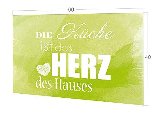 GRAZDesign Rückwand Küche Spruch, Küchen Spritzschutz Herd grün, Küchenrückwand Glas Die Küche ist das Herz des Hauses / 60x40cm