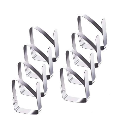 Smart Nice 8 Pack Pinzas para Mantel de Acero Inoxidable Mantel,Clips elásticas de Mantel Pinza para Mantel Cubierta,Plata,Apto para Picnics, Fiestas (Quadrilateral)