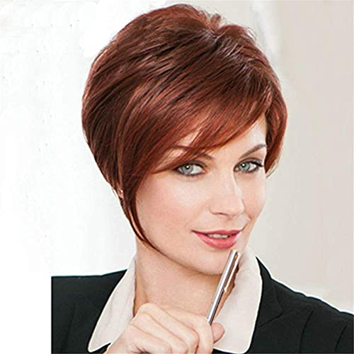 L&B-MR Pelucas elegantes para las mujeres europeas y americanas peluca de pelo corto, vino rojo corto rizado peluca headgear mejor opción de regalo