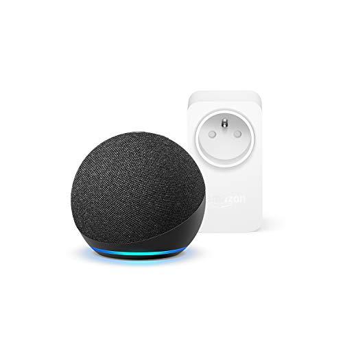 Nouvel Echo Dot (4e génération), Anthracite + Amazon Smart Plug (Prise connectée WiFi), Fonctionne avec Alexa