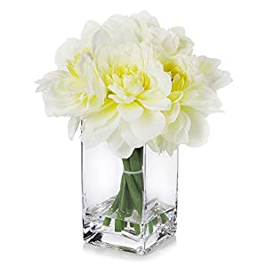 Enova Home Artificial Silk Dahlia Flowers Arrangement in Clear Glass Vase for Home Wedding Decoration