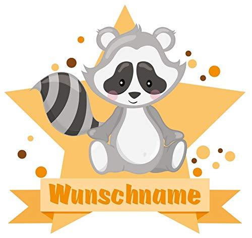 Samunshi® Süßer Waschbär Wandtattoo Türschild mit Name personalisierbar Kinderzimmer Türaufkleber Baby Wandaufkleber in 9 Größen (50x43cm Mehrfarbig)