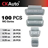 CKAuto MC-Series Coated 0.25oz, 0.5oz, 0.75oz, 1.0oz Lead Clip on Wheel Weight Assortments, 25Pcs/ Style, Total 100Pcs/Box