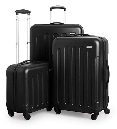 Suitline S3 - Kofferset, 3 Hartschalen-Trolleys - Kabinengepäck + mittelgroßer Koffer + großer Reisekoffer, Schwarz