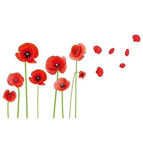 DIY High Definition Red Mohnblumen, schöne Blumen Ranken und Schmetterlinge, Vinyl, abziehen und aufkleben, für Wohnzimmer, Schlafzimmer, Kinderzimmer, Kinderzimmer, abnehmbar