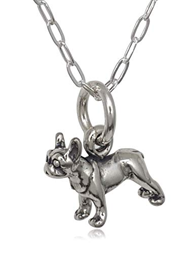 Sterling Silver Tiny Boston Terrier Dog 3D Charm Necklace, 18'