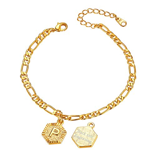 FOCALOOK Damen Buchstabe P Fußkette 18k vergoldet Initiale personalisiert Hexagon Anhänger mit 22+5cm Figarokette goldfarben Könchel Armband tolles Sommer Strand Modeschmuck Accessoire für Mädchen