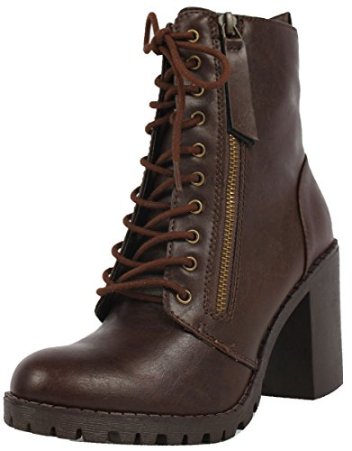 SODA Women's Malia Faux Lace Up Chunky Ankle Boot, Brown, 5.5 M US