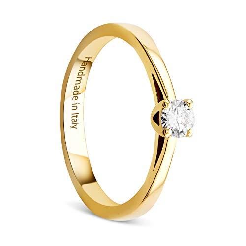 Orovi Damen Ring Gelbgold 0.15 Ct Solitär Diamant Verlobungsring 14 Karat (585) Gold und Diamant Brillanten Ring Handgemacht in Italien