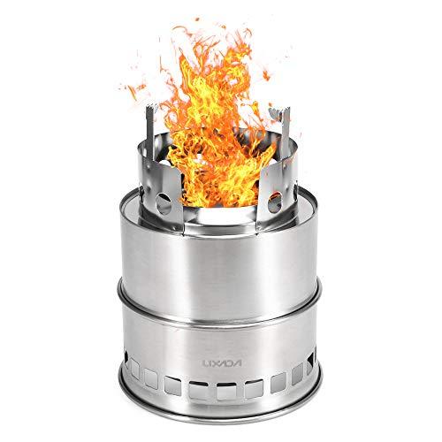 Lixada キャンプストーブ 薪ストーブ ウッドストーブ 焚き火台 バーベキューコンロ 二次燃焼 燃料不要 ネイチャーストーブ 携帯用コンパクト 折りたたみ式 アウトドア キャンプ 焚火台 ステンレス/チタン製
