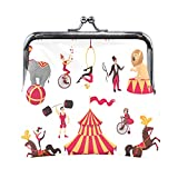 Taschen für Frauen Circus Elements Set Zelt AFFE auf Fahrrad Air Gym Geldbörse für Frau mit Kussverschluss Kleine Geldbörsen für Frauen für Frauen Mädchen 4,5x4,1 Zoll