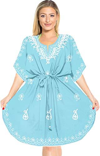 LA LEELA Frauen Damen Rayon Kaftan Tunika Bestickt Kimono freie Größe kurz Midi Party Kleid für Loungewear Urlaub Nachtwäsche Strand jeden Tag Kleider DE Größe: 42 (L) - 52 (4XL) Blau_C211