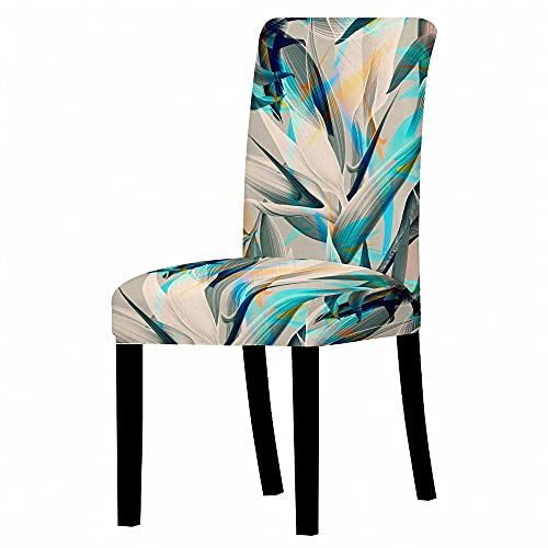 GVJKCZ Fundas para sillas,Doodle de Hojas de Colores de Ceniza Verde sillas Elásticas y Modernas Funda Asiento Silla,Extraíbles y Lavables-Decor Restaurante,2 Piezas