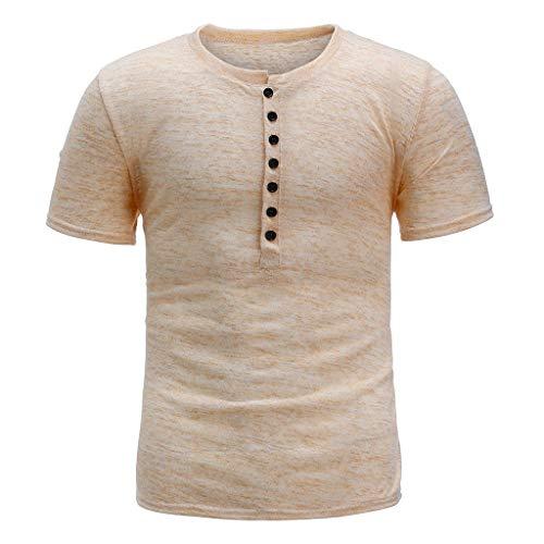 Tshirt Court T-Shirt Homme Blouse Top Hommes Été Nouveau Bouton Pur Manches Courtes Mode Confortable (XL,Beige)