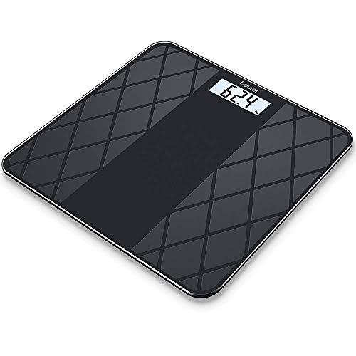 Beurer GS 135 digitale personen-/glazen weegschaal, met LCD-display, automatische in- en uitschakeling, oppervlak van matte tegelstructuur, zwart
